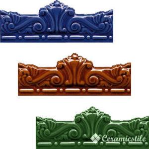 moldura gotica 7,5×20 — azul antic, melado, verde antic